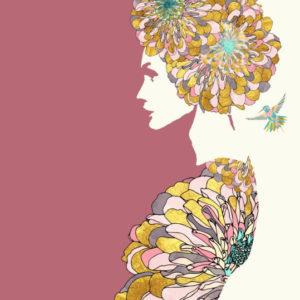 Díszes nő kolibrivel – Online festés