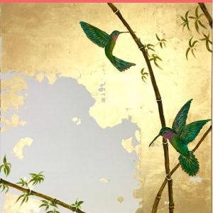Kolibrik arany háttér előtt – Online festés