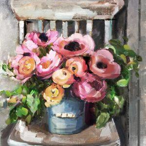 Virágcsokor a széken