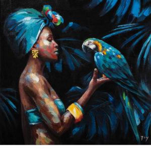 Nő a gyönyörű papagájjal – Online festés