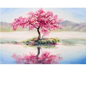Rózsaszín fa a tó közepén