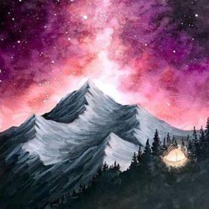 Északi fény a hegyek felett –  világító festékkel- Kezdőknek