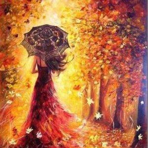 Öszi erdőben sétáló nő – Kezdőknek