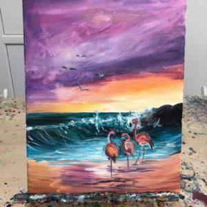 Flamingók a tengerparton – Kezdőknek
