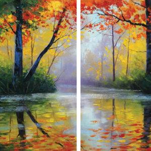 Őszi erdő – Páros festés – Kezdőknek