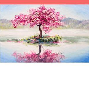 Rózsaszín fa a tó közepén – ONLINE festés
