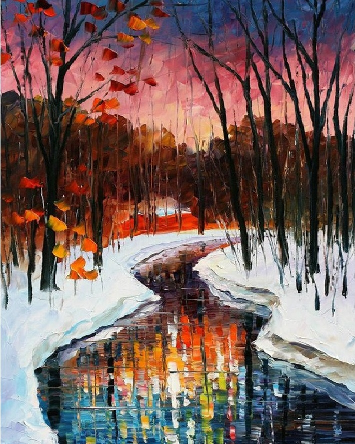Winter stream in pink sunset