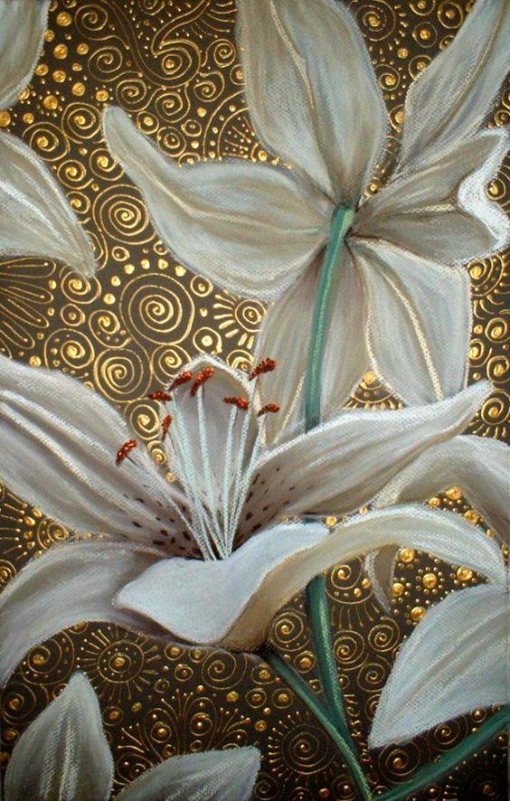 Liliomok arannyal díszítve