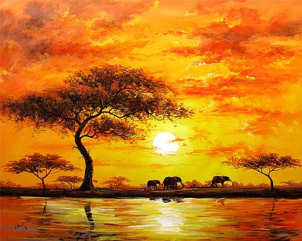 Ismeretlen festó - Afrikai látkép