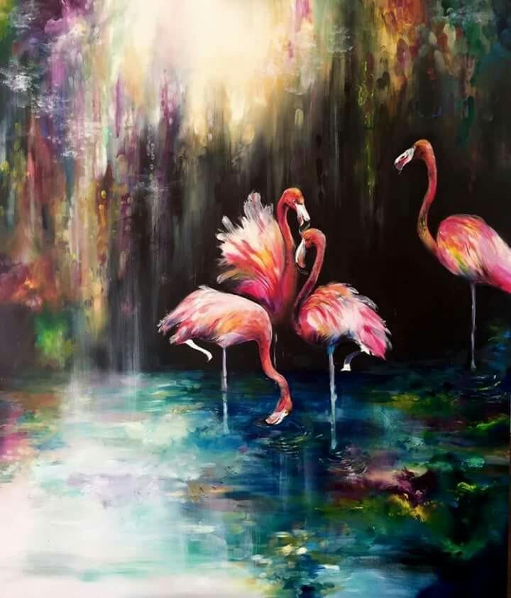 Ismeretlen festő - Flamingók