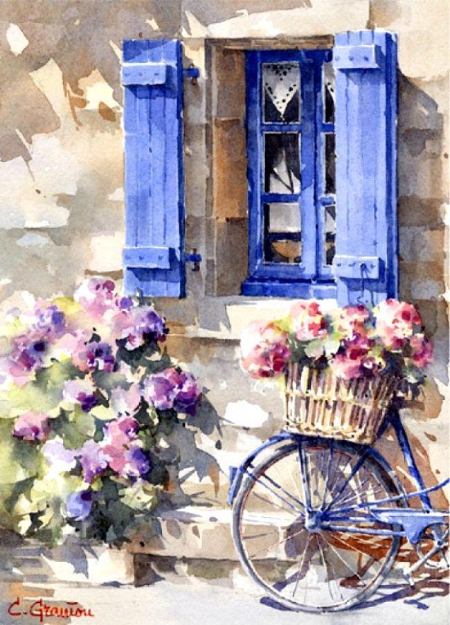 Ismeretlen festő - Virágok a biciklin