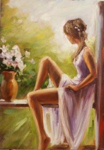 Ismeretlen festő - Merengő nő