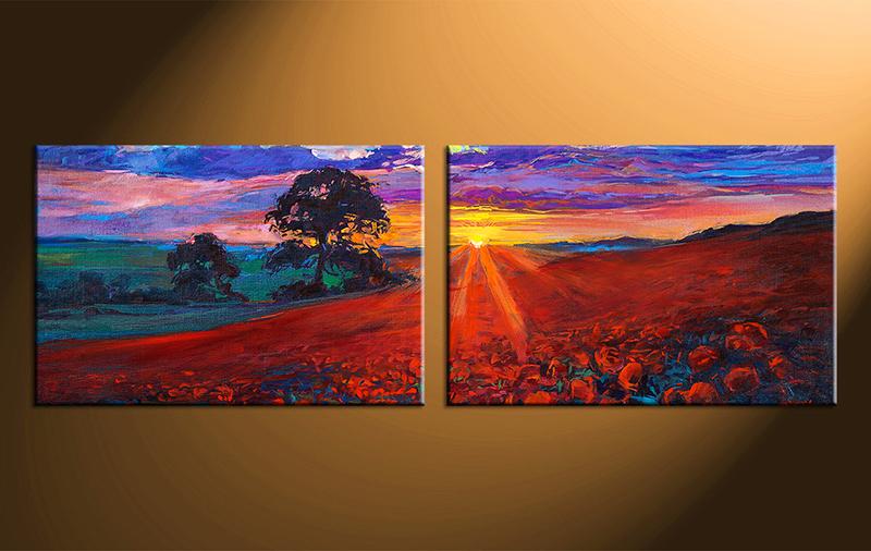 Ismeretlen festő - Naplemente a tájban - Páros festés