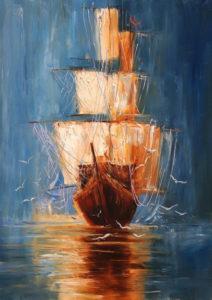 Ismeretlen festő - Vitorlás a vízen