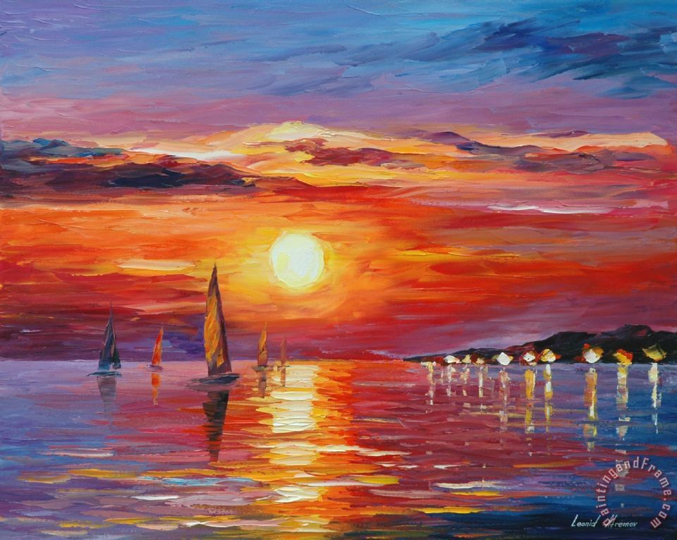 Sunset Painting by Collection 1; Sunset Art Print for sale