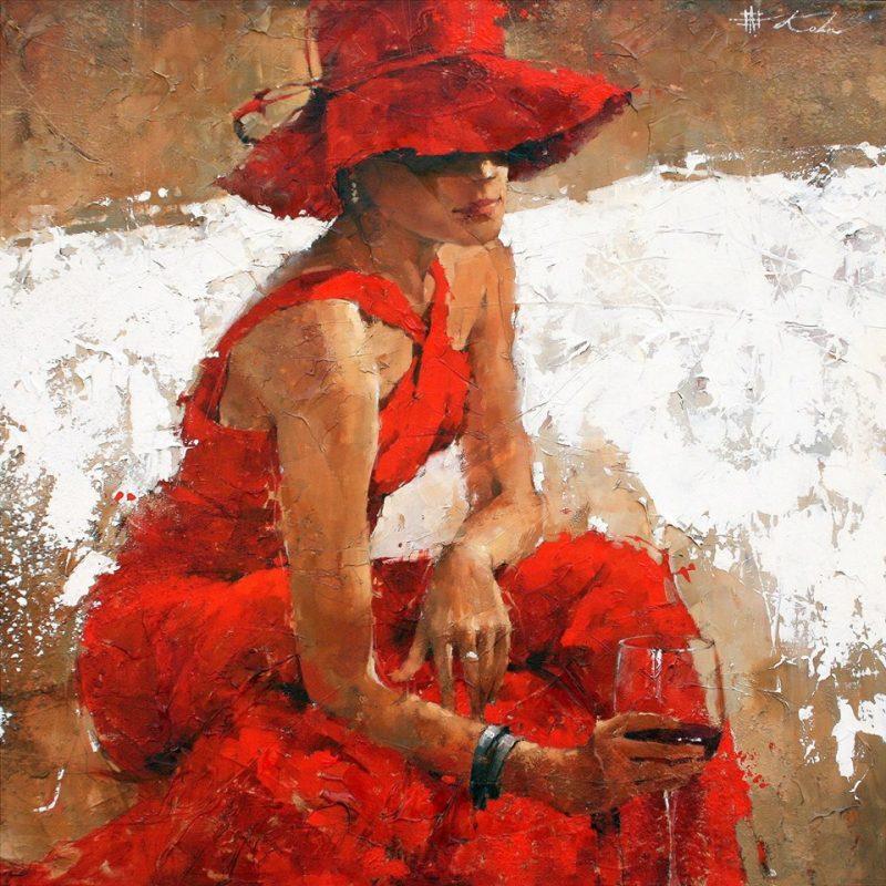 Andre Kohn - Piros ruhás hölgy borral