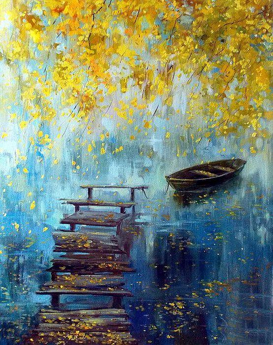 Ismeretlen festő -Csónak a tavon
