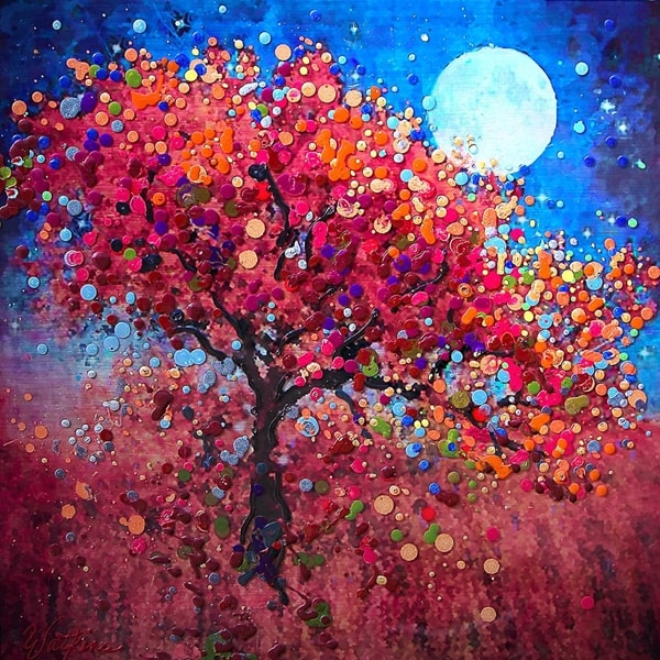 Ismeretlen festő - Förcskölős, pöttyözős fa