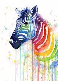 Ismeretlen festő - Szivárványos zebra