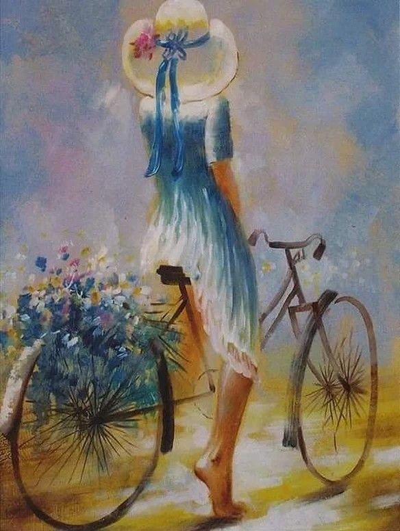 Ismeretlen festő - Nő a biciklin