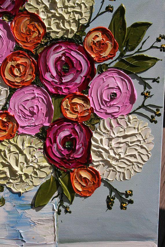 3D virágok kaspóban - Struktúrpasztás festmény