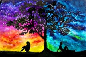 Páros festés - Milky Way sky