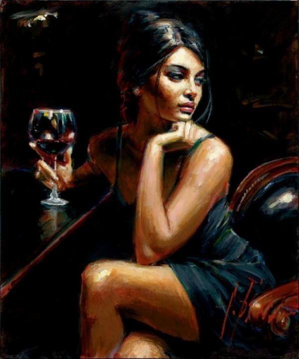 Fabian Perez - Woman, wine, bar