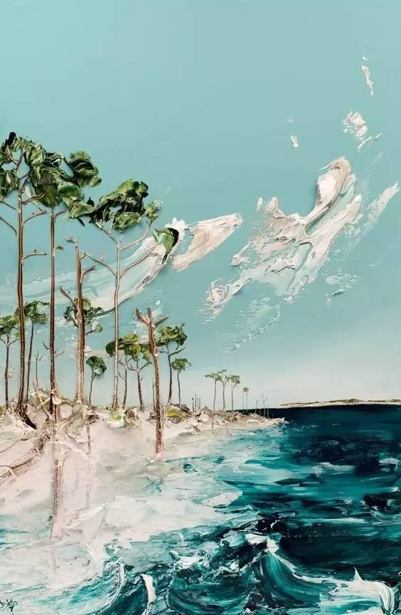 Gyönyörű tenger mossa a partot - 3D
