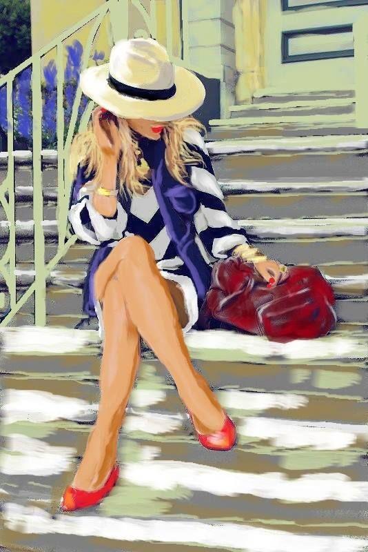 Lépcsőn ücsörgő lány