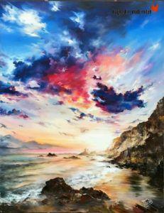 Tachs - Sziklás tengerpart a naplementében