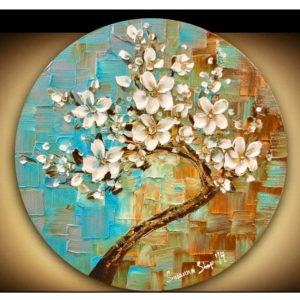 3D virágok feszített kör vászonra – Stúdiós festés