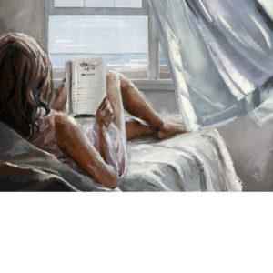 A tengerparti házban olvasva – VIDEÓS festés