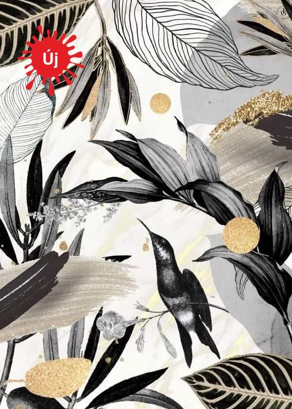 Szürke arany dzsungel madárkával - YourArt - Otthoni élményfestő szett