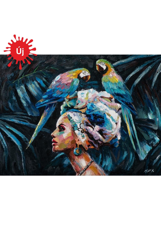 Gyönyörű nő a papagájokkal - YourArt - Otthoni élményfestő szett