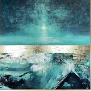 Absztrakt festmény igazi füstfólia lapokkal- Stúdiós festés