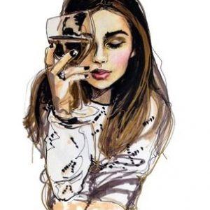 lány a borral